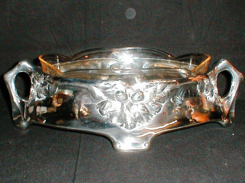 Sølvplet oval skaal stor opsats med krystalskål solvplet skaaal